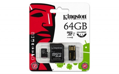 Memóriakártya, microSDXC, 64GB, C10, 10 MB/s, SD+USB adapter, KINGSTON